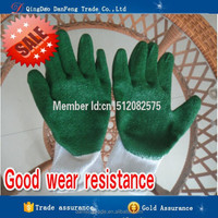 DANFENG GB201Green and white latex coated cotton glove water resistant work gloves cotton latex gloves