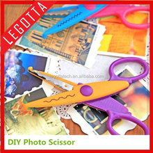 Certificated kids scissors for DIY photo album handmade, 6 patterns laciness scissors wholesale gift promotion