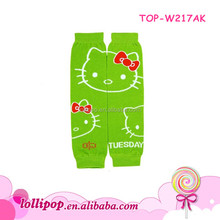 Fashion lime hello kitty pattern knitted leg warmer for baby girls
