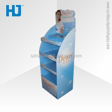 Sky Blue Folding Mac Cosmetic Make up Corrugated Cardboard Pallet Display Stand