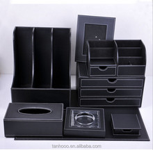 2015 High Quality Multifunctional Handmade 8 PCS Custom Leather Desktop Stationery Holder Set Office Desk Set