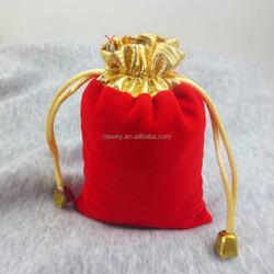 10*12 CM Golden Edge Velvet Jewellery Drawstring Gift Bag Pouches