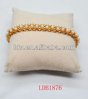 Mini pearl bead on gold square chain bracelet whole jewelry