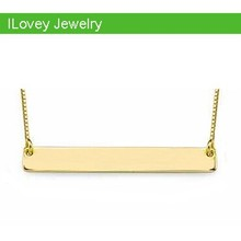 high quality handmade brass metal silver rectangle name bar plate necklace