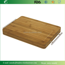 Simply Bamboo Carving Board , Chopping & Serving Board w/ Metal Handles