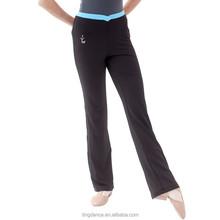 Hip- hugger bleu- tranchant pantalons de yoga en coton