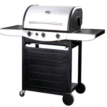 3 Burners Stainless Steel BBQ Barbecue Propane Gas Grills with Trolley Cart for Outdoor Kitchen Cooking Equipment