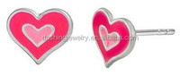 Fashion Double Heart Light Pink & Hot Pink Stud Earrings for Little Girls - Lead and Nickel Free