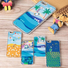 Swimming Cute Liquid Clear Crystal Hard Cell Phone Case for iPhone 6