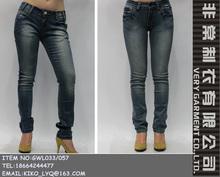 pierna recta retro color lavar dril de algodón pantalones vaqueros vintag sexo caliente pantalones vaqueros para la niña