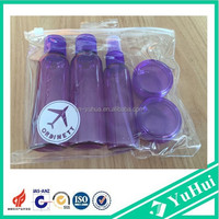High quality plastic travel bottles /cosmetic bottle set/travel kit plastic bottle