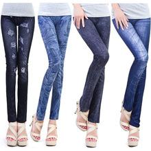 Leggings de moda para las mujeres de poliéster/spandex pantalones vaqueros agujero plisada impresiones ocasionales polainas