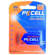 Top selling !! 9V alkaline non-rechargeable battery from PKCELL