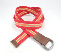 New Arrival Brown Leather Tap Stretch Woven Canvas Belts