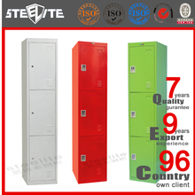 Fashion Style Triple Door Upright Stainless Steel Chest, Girls Chest, Cheap Wardrobe Steel