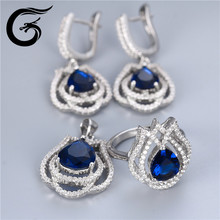 sapphire cz stones jewelry wholesale from factory with 925 silver sets