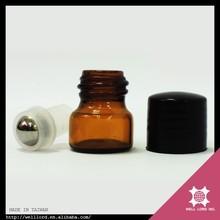 1ml amber glass perfume essential oil mini tester roll on bottle