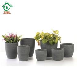 Gray light weight outdoor clay plant pot for home and garden decoration