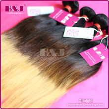Fast shipping Brazilian ombre hair color black brown and yellow hair extension wholesale