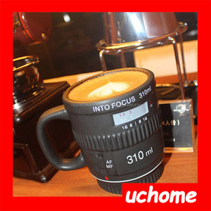UCHOME creativo En Foco Lente lente de la cámara taza taza de café de cerámica con mango de vacío
