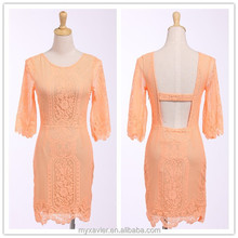 New design yellow backless 3/4 length sleeve short lace dress for women, latest skirt design pictures, women clothing wholesale