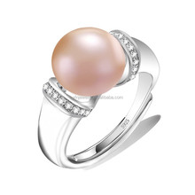 Fashion 925 Sterling Silver Pearl Ring , Silver Wedding Ring Designs for Women