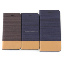 Double color folio pu leather case for iphone 6 with card slot , good touch feeling ,customize your pattern