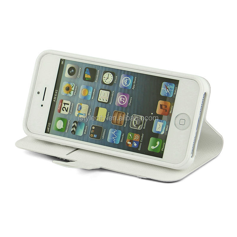 PU Folding Mobile Phone Leather Case For iPhone 4 5