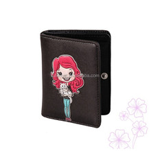 Trade Assurance Cute Girl with Cat Color Printing Short Wallet with Zipper