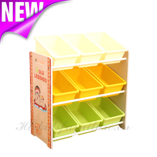 63x24x60(H)cm E1 MDF Easy Assembly Indian Bear Wooden Toy Organizer With Nine Bins, Functional Toys Organizer