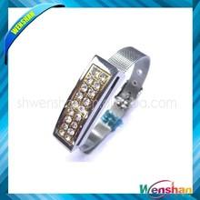 Diamond golden jewelry bracelet usb flash drive