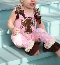 Hot Pink Heart Ruffle Pants Sets 100% cotton girls wholesale boutique clothing