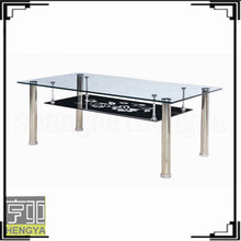 modern square clear two layers tempered glass stainless tube coffee table