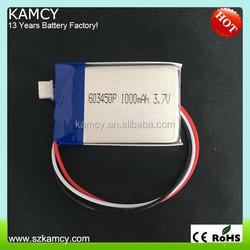 3.7V 1000mAh li polymer battery 603450P 063450P for gps