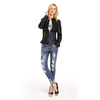 Woman Clothing Fashion Black Fashion PU Leather Jacket