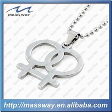 fashion brass lovers silver stainless steel metal silver pendant necklace