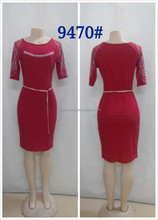 2015 Guangzhou clothing manufacturer beaded red female office dress
