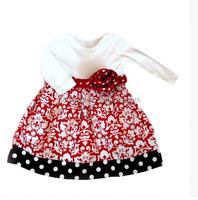 Christmas Pokla Dot Animal Printed Girls Long Sleeve Fall Dress Latest Party Wear Dresses For Girls