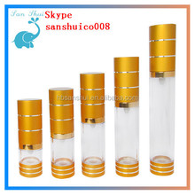 high quality /hot sale gold airless pump bottle for BB cream with cut line