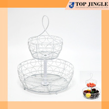 2 Layer Round Portable Metal Biscuit & Fruit Display Tray