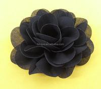 Wholesale high quality black artificial chiffon fabric flower for headband -M109