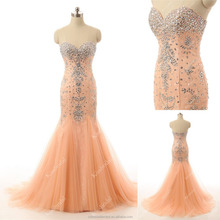 100% Real Photo Hot Sale Crsytal Beaded Long Tulle Lace Mermaid Formal Evening Dress 2015