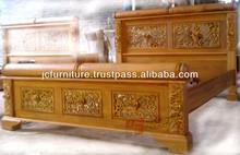 Bedroom Furniture Hand Carved Bed Solid Teak Wood Traditional Jepara Furniture
