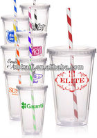 New Style Clear Double Wall Acrylic Tumbler with colourful Striped Straw plastic water drinking bottle