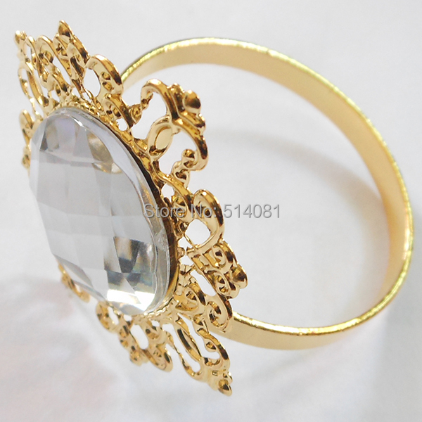 wholesale gold clear napkin ring rhinestones for weddings