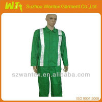 Men's 100% cotton Hi Vis reflective workwear customized overalls (Jacket+pants)