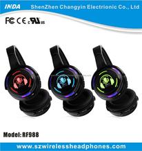 Shenzhen UHF/RF Wireless transmitter headphone Silent Disco with LED