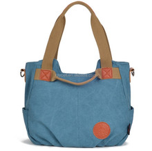 hot selling foldable eco-friendly retro washed canvas tote bag for women