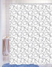 Línea sinuosa diseño de poliéster tela lavable cortinas de ducha, cortina de la alta calidad
