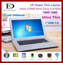 Factory price 14 inch slim laptop computer, Intel Celeron J1800 Dual Core 2.41-2.58Ghz CPU, 4GB RAM,500G HDD, 1080P, Wins 7